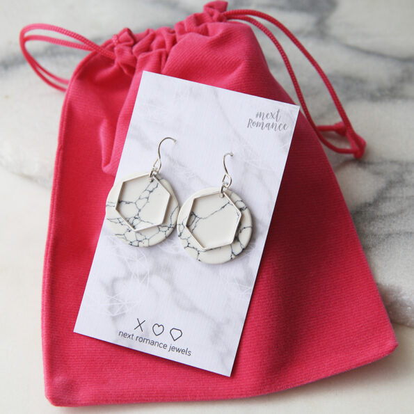 white marble packaging earrings silver modern next romance jewellery