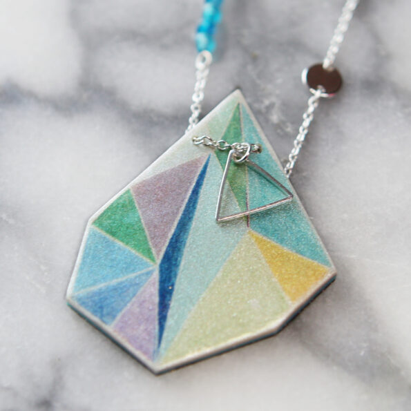 aqua lime triangle pendant zoom next romance