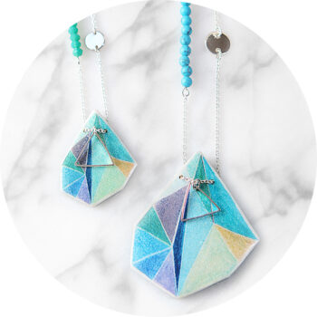 aqua teal green triangle next romance jewellery contempory unique melbourne australia sydney design