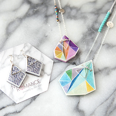 aqua triangle art necklace and lilac orange NEXT ROMANCE