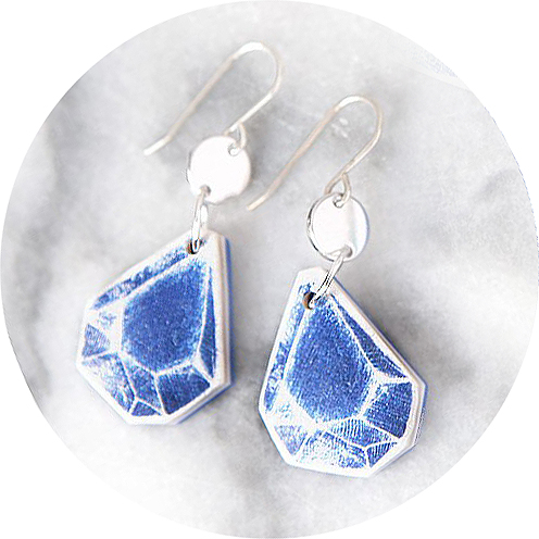 Triangle rock art earrings – blue vintage sketch