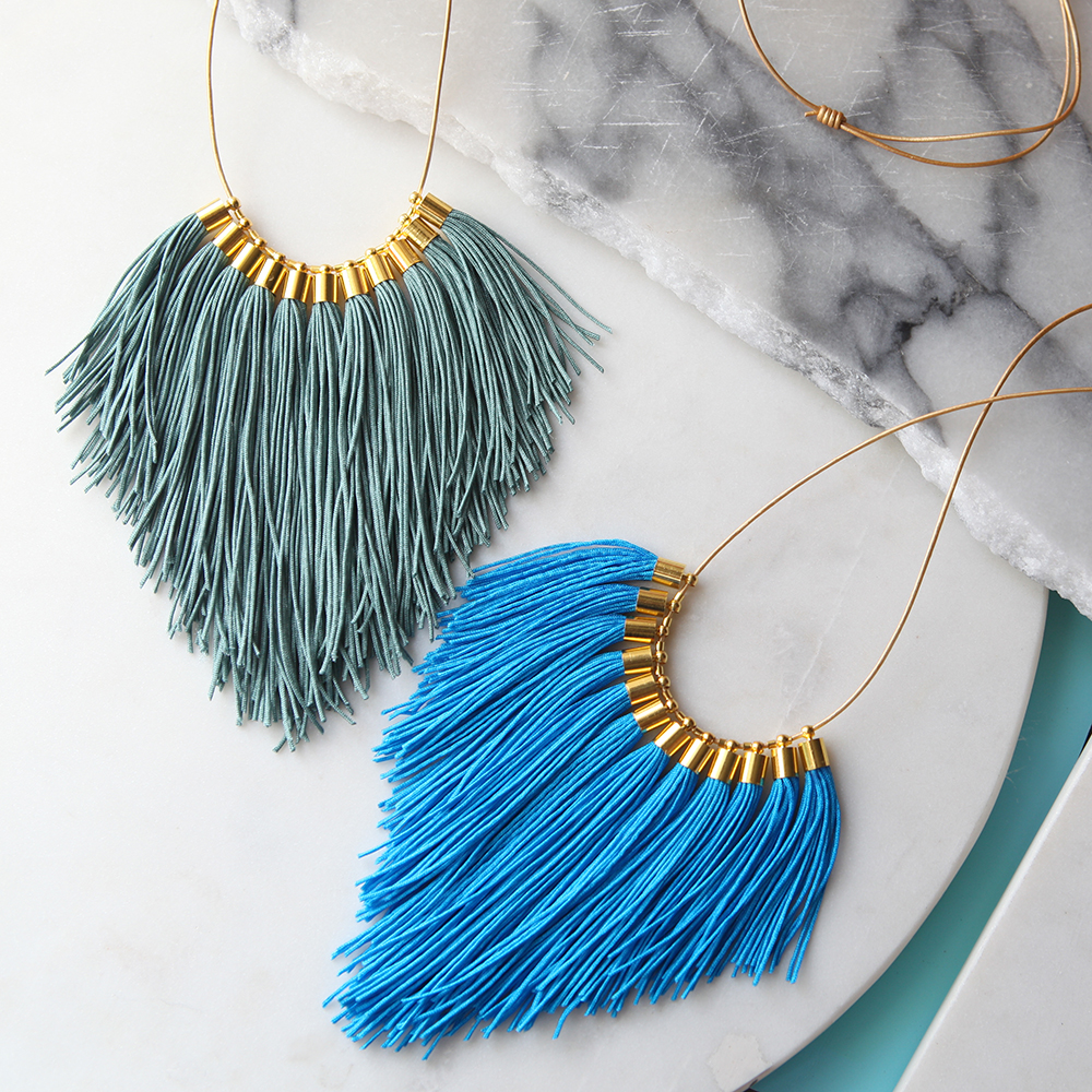 fringe tassel necklace next romance new designs blue statement tassel vicki lee leigh