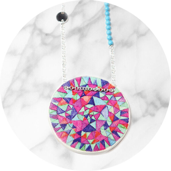 Peace mandala illustrated art necklace – magenta blues