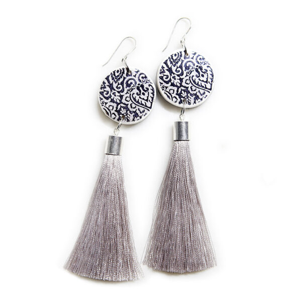 LUXE tassel coin art earrings – grey silk