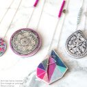 triangle art pink and henna mandala lilac