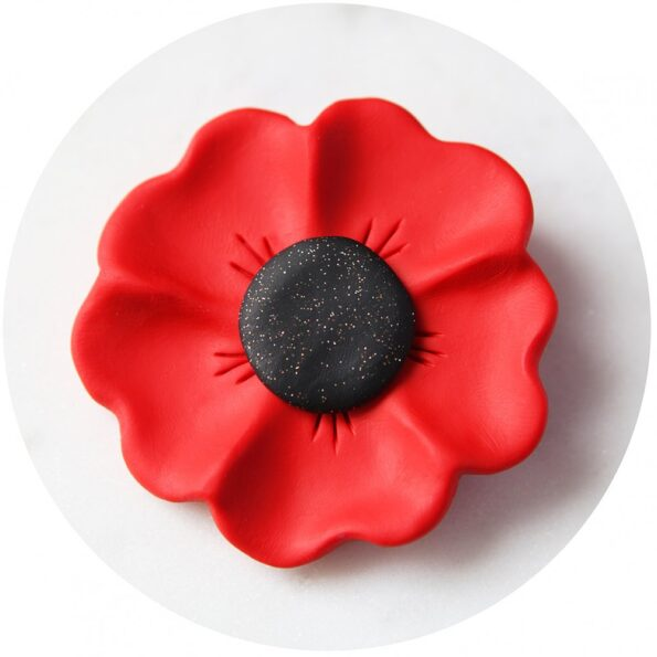 poppy project beautiful handmade brooch red – sparkle centre