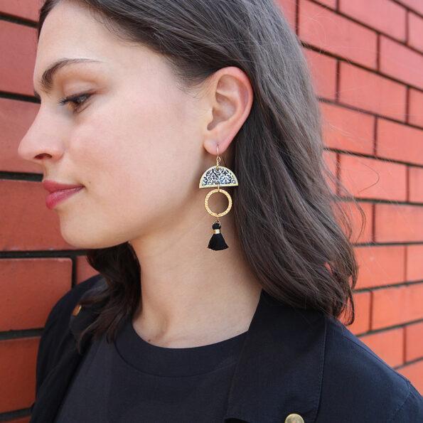 Fabulous mini Tassel ART Earrings - Black and Gold - Limitless Boho Luxe - Next Romance Jewels Melbourne Australia