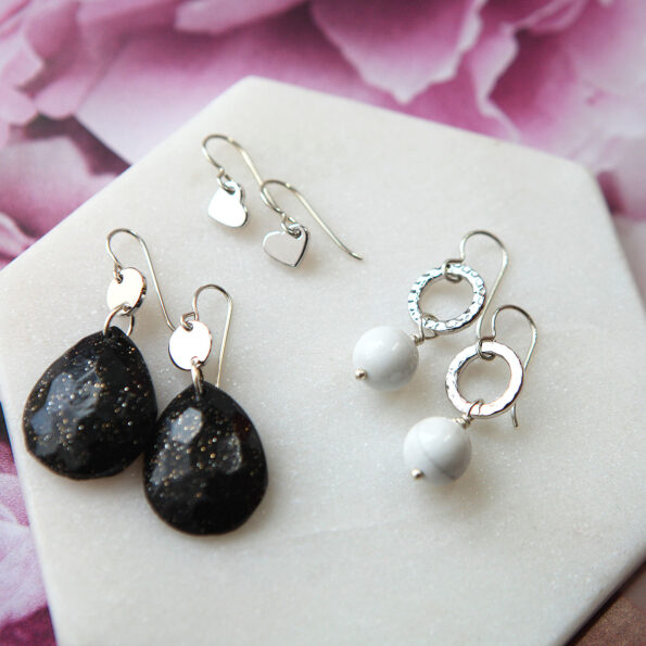 black glitter polymer gem with coin drop Next Romance Jewellery