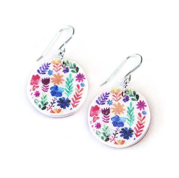 A MOTHERS GARDEN watercolour art earrings – multi