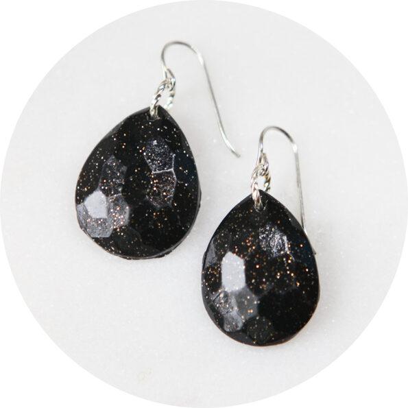black facet teardrop diamond moulded sparkle earrings dangley next romance jewellery australia silver