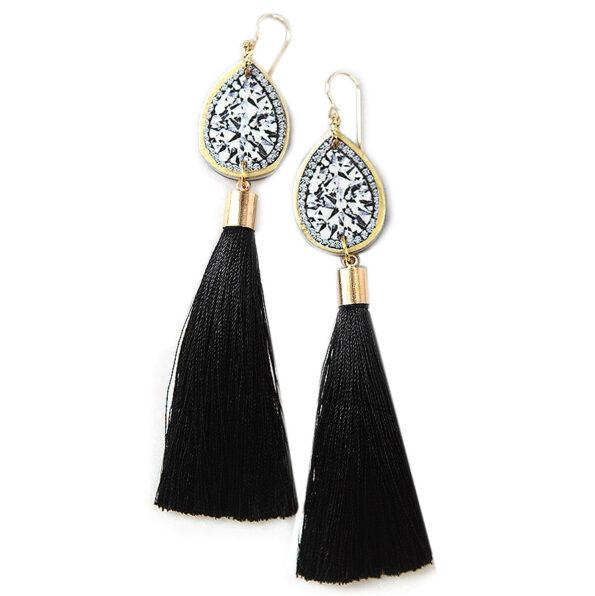 DIAMOND illustration top tassel earrings – black – choose length