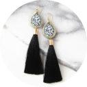 black gold diamond art tassel earrings long NEXT ROMANCE jewellery