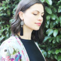 black small diamond tassel art earrings by NExt romance jewellery