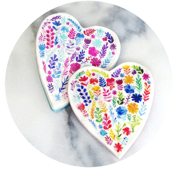 colour floral heart brooch mothers day gift sml