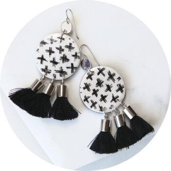 cross art tassel mini black big coin earrings disk funky next romance
