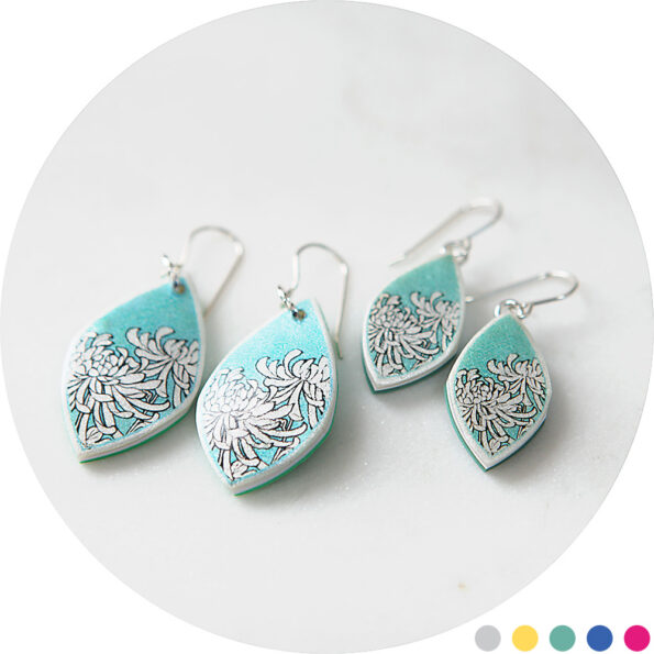 CHRYSANTHEMUM illustrated japanese style art earrings – marquis