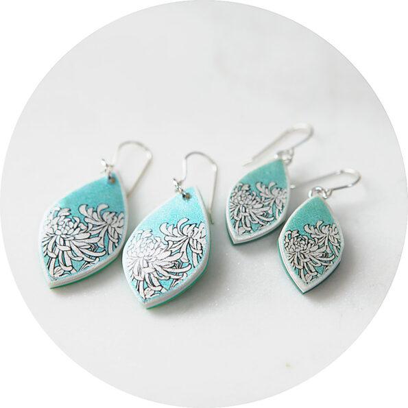 chrysanthemum marquis earrings