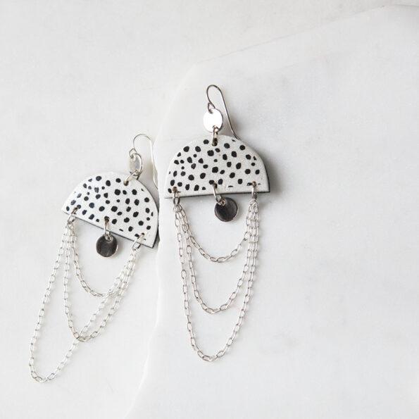 dot moon chain funky art earrings SPOTS next romance jewellery australia