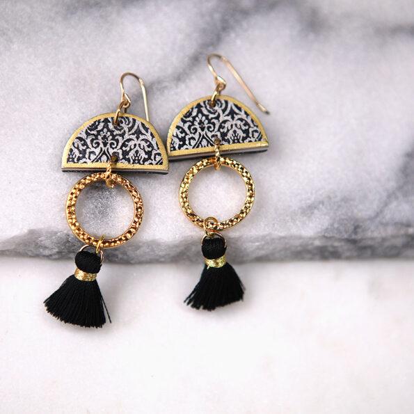 LIMITLESS LUXE small half moon art tile earrings with mini black tassel