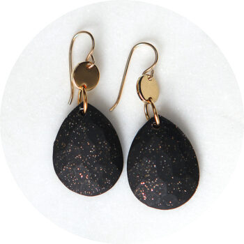gold black facet teardrop earring MODERN classic Next romance jewels