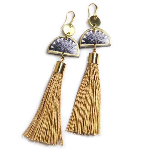 STEELY half moon tassel earring – black gold