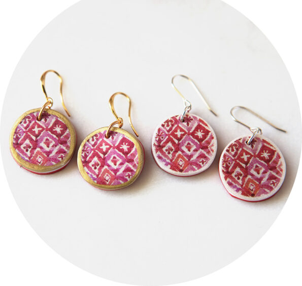 red bali watercolour ink pattern earrings