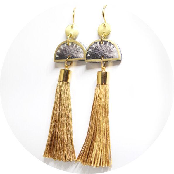 gold scratch half moon tassel earrings next romance jewels