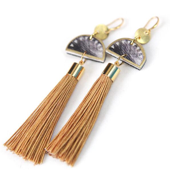 gold scratch half moon tassel earrings next romance jewels side