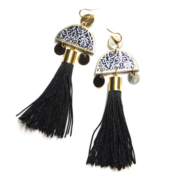 marrakesh black tassel art earrings next romance jewellery australia