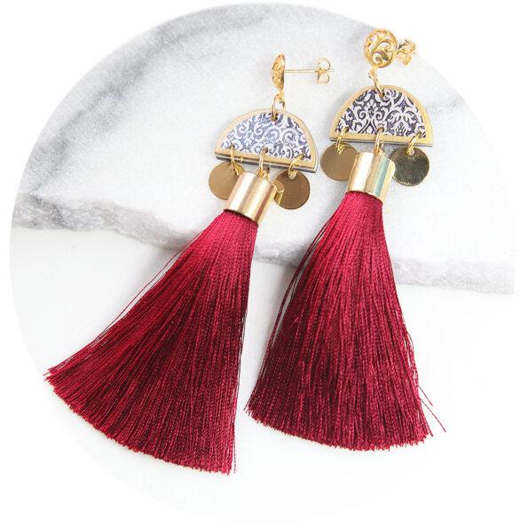 marrakesh red gold burgundy silk tassel art earrings next romance jewellery australia