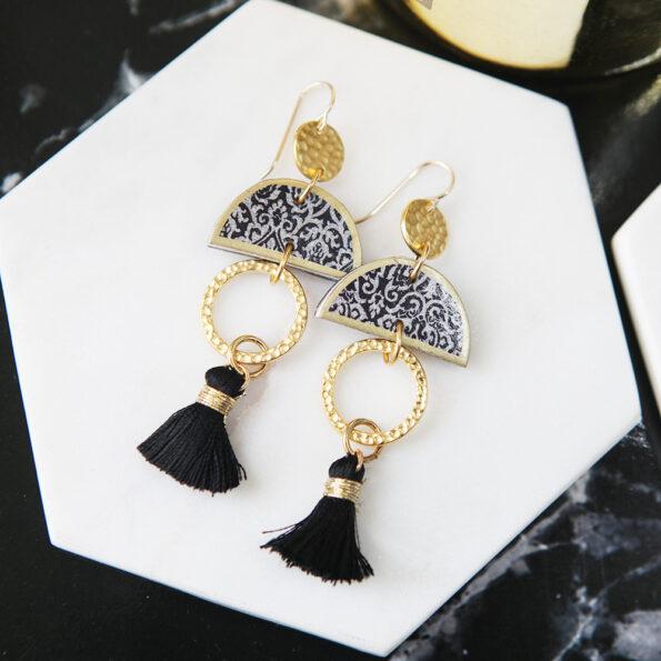 mini gypsy tassel half moon morocco art earrings NEXT ROMANCE JEWELLERY vicki Leigh lee