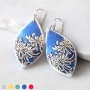 next romance jewellery HERO chrysanthemum blue earrings polyresin