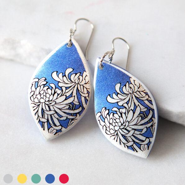 _ CHRYSANTHEMUM illustrated japanese style art earrings – marquis