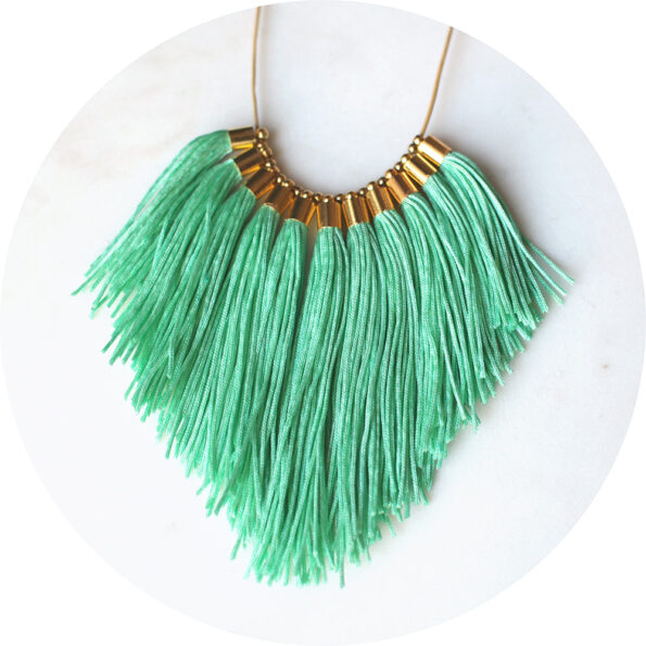 tassel necklace fabulous fringe – soft mint