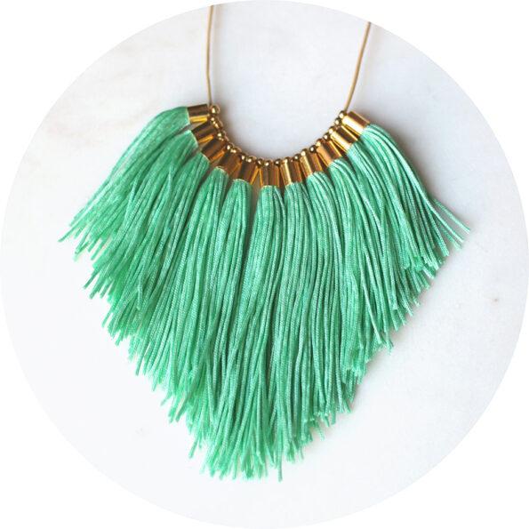 tassel necklace fabulous fringe – soft mint