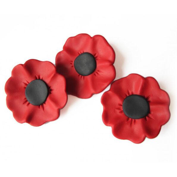 poppy beautiful handmade brooch anzac rememberance red