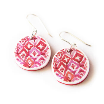 red bali watercolour pattern earrings next romance red unique jewels