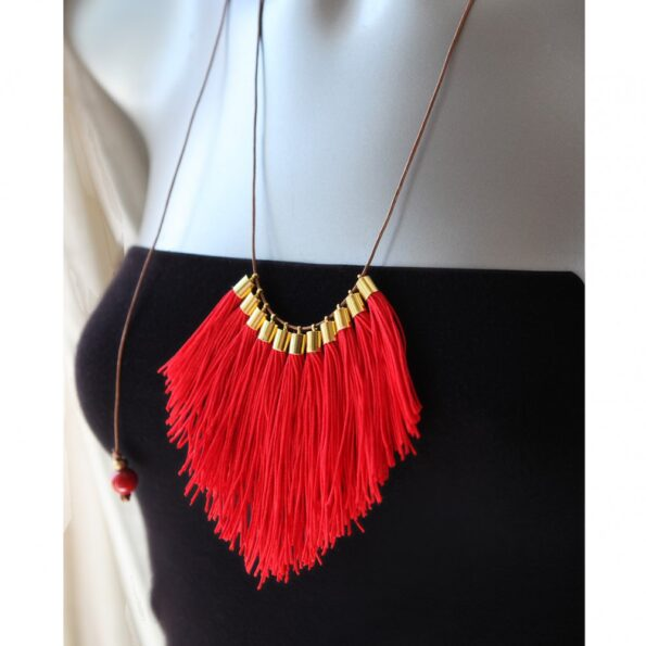 red-fringe-funky-unique-necklace