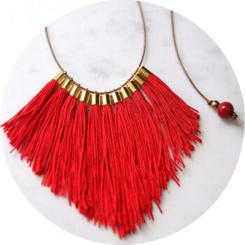 Red funky tassel fringe statement necklace x next romance jewels