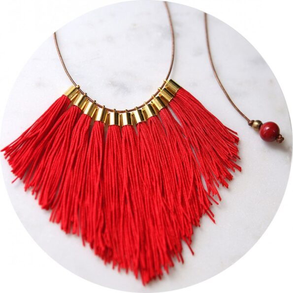 tassel necklace fabulous fringe – red