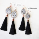rose gold diamond tassel earrings black silk NEXT ROMANCE