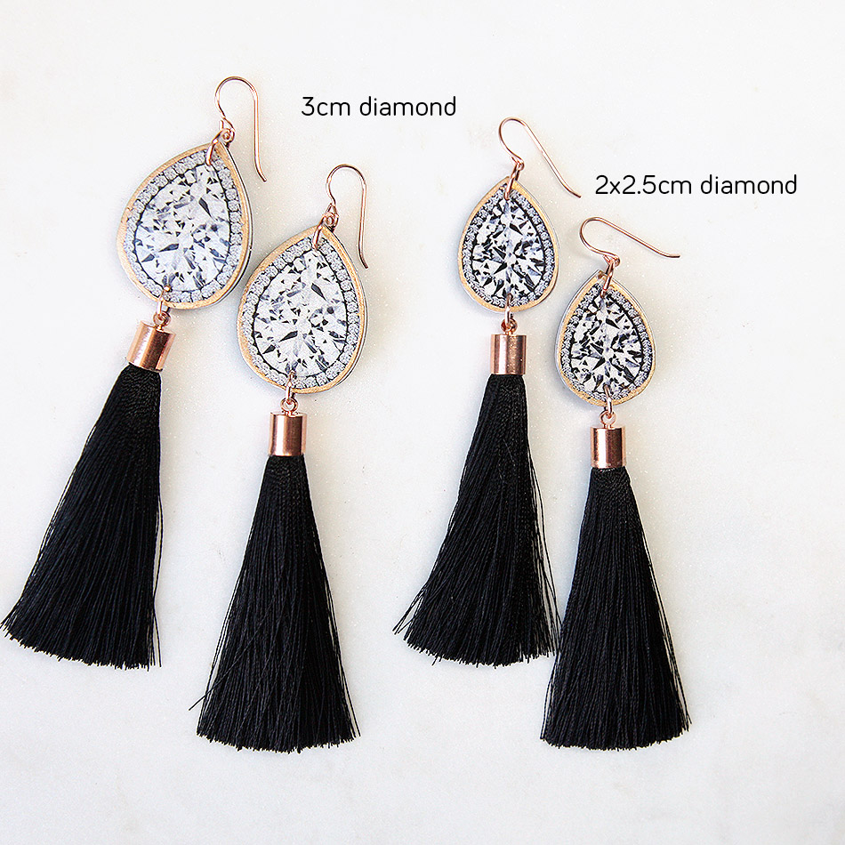 Diamond Illustration Top Tassel Earrings Black Choose Length