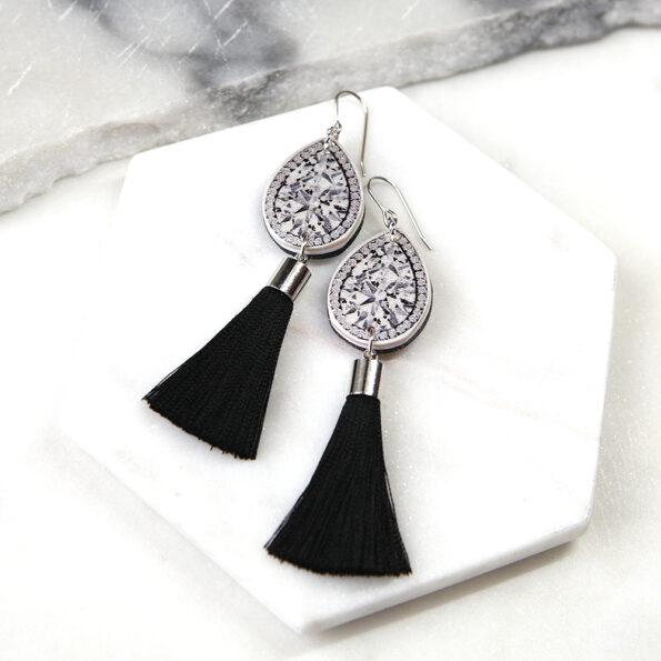 short black diamond art earrings funky unique creative jewellery australia vicki leigh next romance2