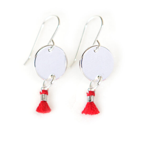 MINI TASSEL coin earrings 1cm – red