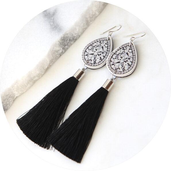 unique diamond polymer resin art tassel earrings next romance jewellery australia
