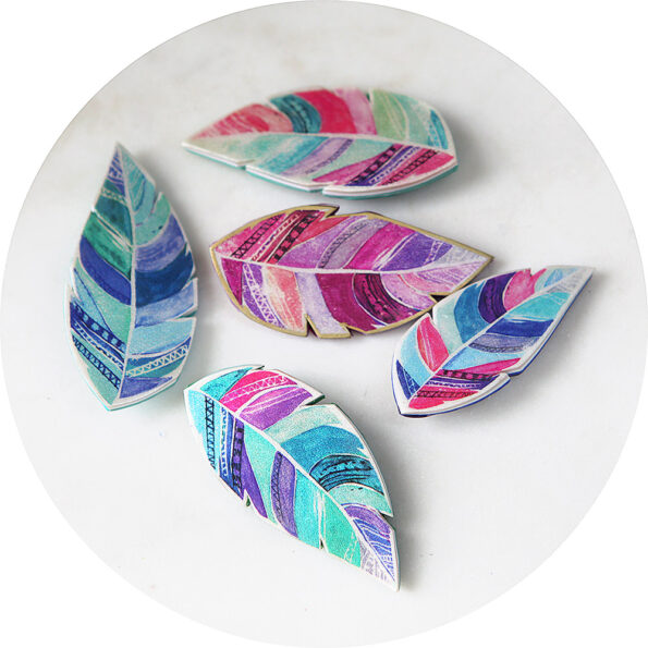 feather brooches