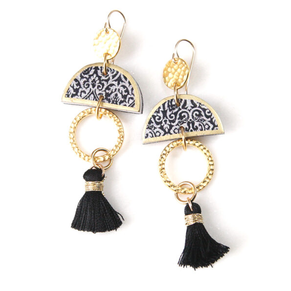 LIMITLESS LUXE small half moon art tile earrings with mini black tassel