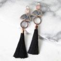 LIMITLESS LUXE statement art tile earrings with BLACK silk tassel