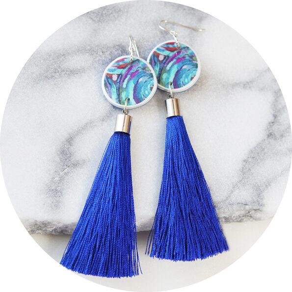 PAINT ME BLUE tassel art earrings