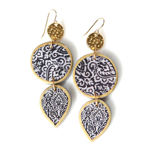LIMITLESS LUXE 'Aisha' tile art coin and teardrop earrings